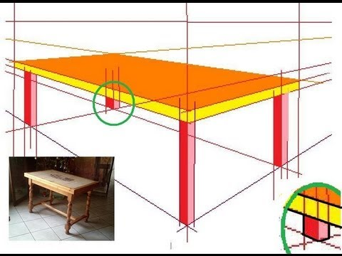 comment dessiner en perspective 5 20 une table en 3d youtube. Black Bedroom Furniture Sets. Home Design Ideas