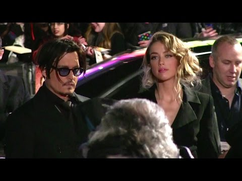 Johnny Depp and Amber Heard at the premiere of Mortdecai in London
