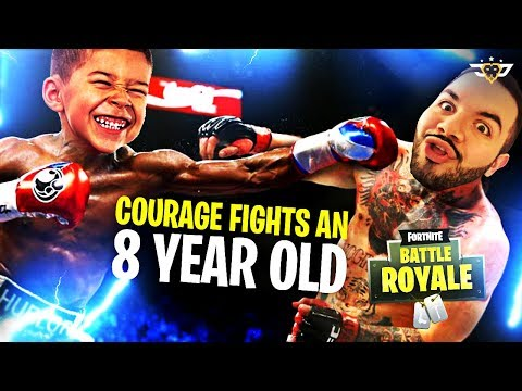 COURAGE FIGHTS AN 8 YEAR OLD IN RANDOM DUOS! NOT CLICKBAIT LOL! (Fortnite: Battle Royale)