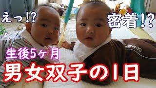 【1日密着】男女双子赤ちゃん生後5ヶ月ってどんな感じ?mix twins baby What kind of feelings are five months after birth?