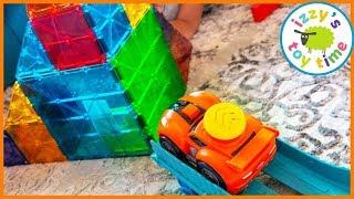 Cars for Kids! Little Tikes SLAMMING RACERS VS MAGNA TILES!