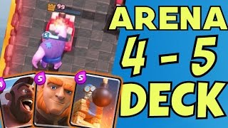 BEST ARENA 4 & 5 DECK w/ NO EPICS [GIANT HOG DECK] Clash Royale Strategy & Tips!