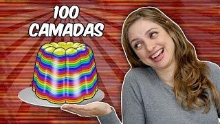 100 Camadas de GELATINA DE ARCO-ÍRIS!
