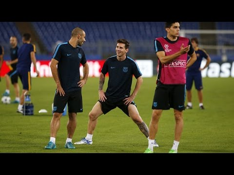 FC Barcelona training session - Back to the scene of the 2009 victory