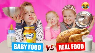 BABY FOOD vs REAL FOOD CHALLENGE!! ♥DeZoeteZusjes♥