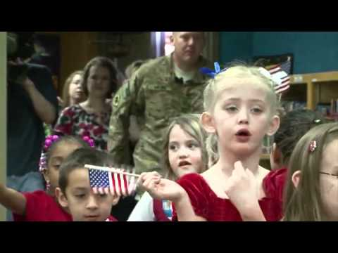Okla. National Guard member surprises his daughter at school