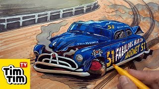 How to draw Doc Hudson Crashed Badly Injured | CARS 3 Movie Clip | Easy step-by-step | Art Color