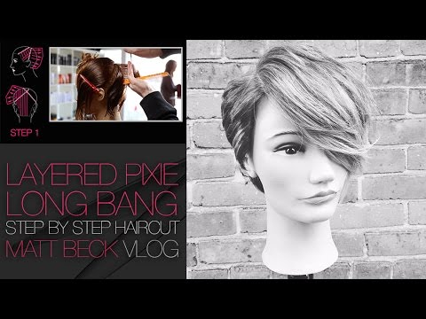HOW TO CUT A PIXIE HAIRCUT WITH A LONG LAYERED BANG   MATT BECK VLOG #017