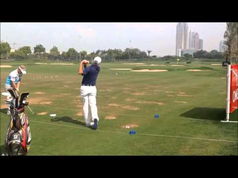 Fred Couples swing on the range at the 25th Omega Dubai Desert Classic 2014