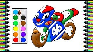 How to draw a car racing moto 46 for children   Drawing and coloring for Kids   bé yêu