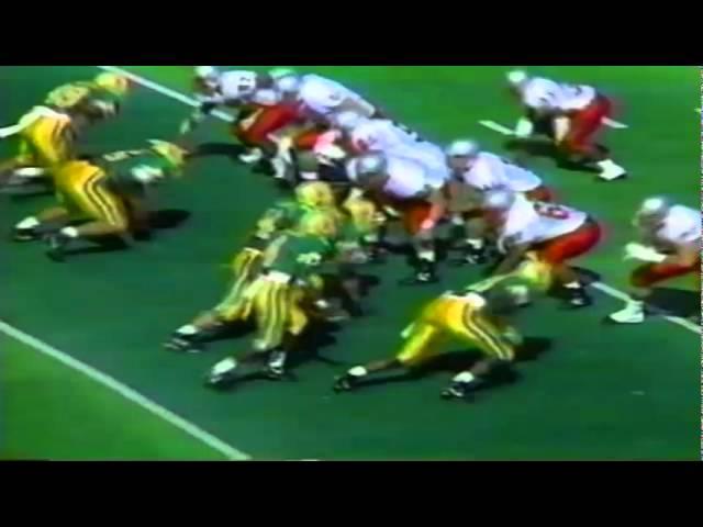 Oregon LB Terrell Edwards clobbers UNLV's quarterback causing a fumble 9-26-1992