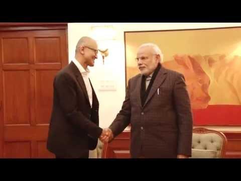 Microsoft CEO Satya Nadella calls on PM Modi