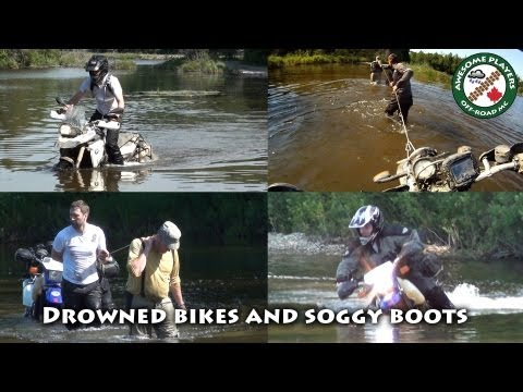 Drowned bikes. wet boots.  Suzuki DR650. BMW F800GS & HP2 on the trail.