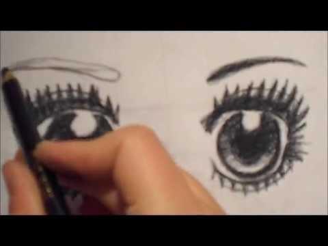 Dessin du visage d 39 un personnage de manga partie 2 les yeux youtube - Visage manga fille ...