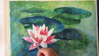 Water-Lily watercolor tutorial, easy step by step lesson for beginners