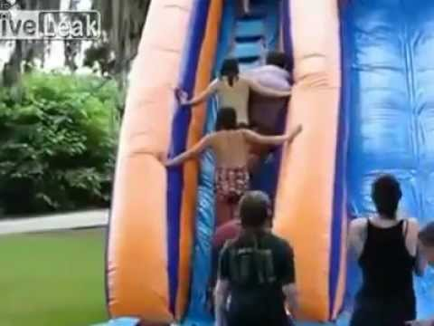 Fat Woman Falls Down And Wipes Out Children