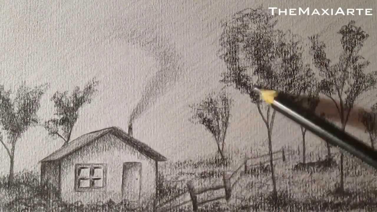 C mo dibujar paisaje a l piz paso a paso f cil hd youtube - Casas dibujadas a lapiz ...