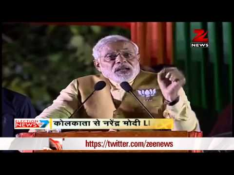 Narendra Modi addresses an election rally in Kolkata