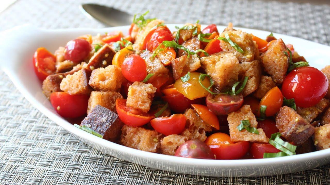 Crispy Panzanella Salad - Tuscan Bread & Tomato Salad Recipe - YouTube