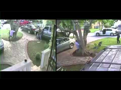 Miami Dade, FL Grow House Shooting with Police - Both angle side-by-side audio home security footage