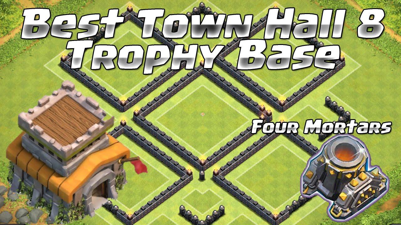 Clash of clans best th 8 trophy clan war base th8 4 mortars