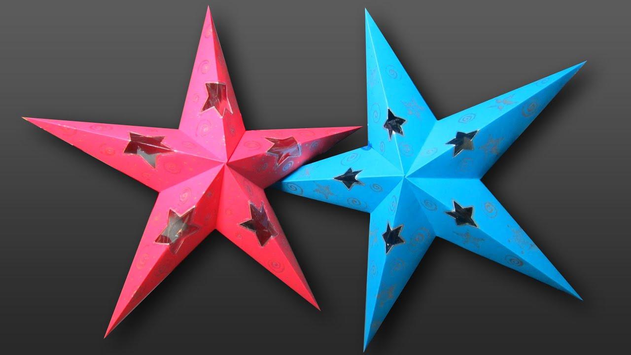 Tutorial estrella decorativa con luz en 3d youtube - Origami de una estrella ...