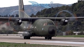 Luftwaffe Transall C-160D - Takeoff with Amazing  Propeller Tip Vortices