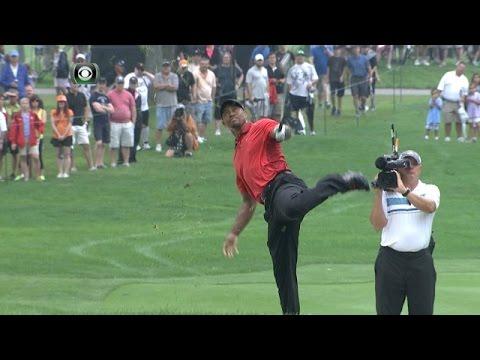 Tiger Woods injures his back on No. 2 at Bridgestone