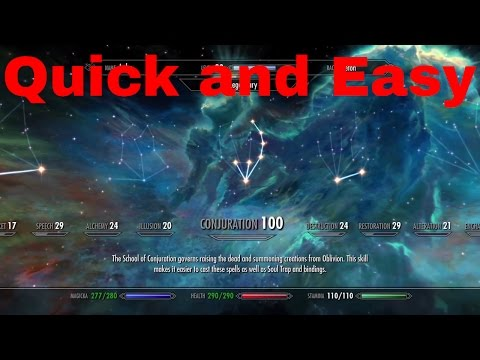 How to get 100 Conjuration in Skyrim and how to level up fast.