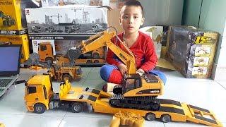 Trung mở hộp máy xúc đồ chơi rc mới đầy bất ngờ Excavator toy unboxing
