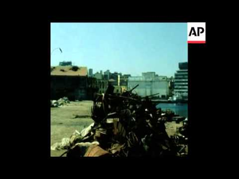 SYND 19 8 78 AFTERMATH OF GUNFIRE AT BEIRUT PORT AND SCENES OF WRECKAGE AROUND THE PORT AREA