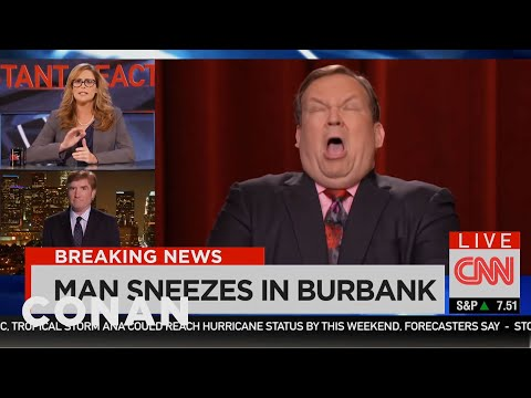 BREAKING EBOLA NEWS: Andy Richter Sneezes  - CONAN on TBS