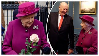 Queen Elizabeth & King Harald V Of Norway Attend Centenary Anglo-Norse Society Reception