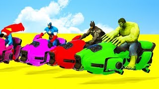 LEARN COLOR MOTORCYCLE & 3D SUPERHEROES Animation for Babies Kids Toddlers Video