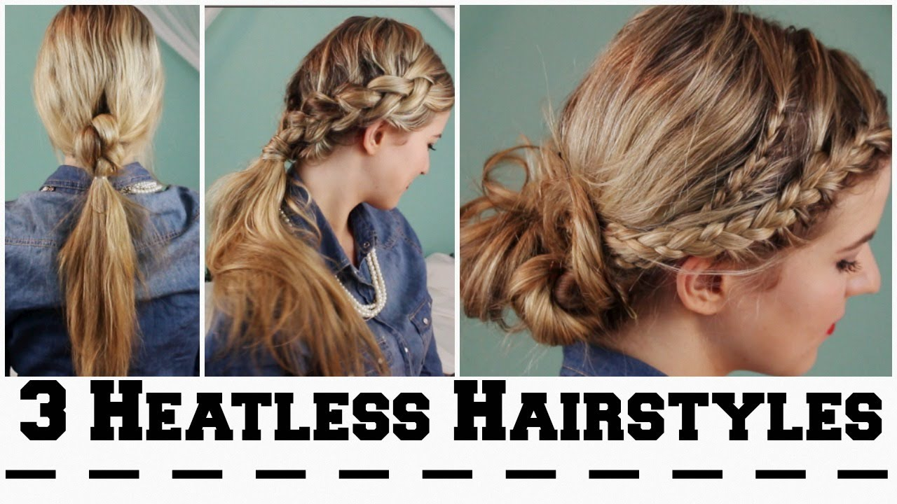 Hairstyles For Short Hair Easy For School : Heatless Hairstyles for Back To School! - YouTube
