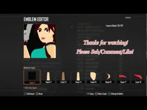 Call Of Duty Black Ops 2 : Lara Croft Emblem Tutorial