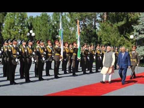The Prime Minister, Shri Narendra Modi at the ceremonial reception in Tashkent, Uzbekistan