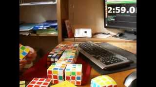 20 cubes in 6:47.72 ( speed cubing )