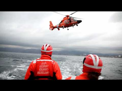 US Coast Guard and USCG Auxiliary - Helo Ops Training - Clip 1 Video
