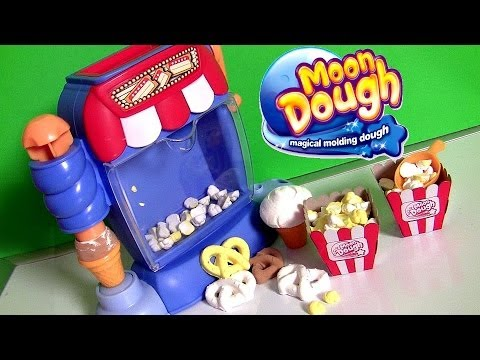 Moon Dough Snack Shop Movie Theater Popcorn Machine Make Play Doh Ice Cream Sundae Pretzels