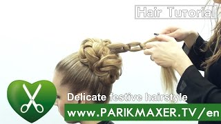 Delicate festive hairstyle. parikmaxer tv USA