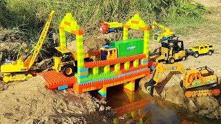 Build Bridge Blocks Toys Excavator Forklift Dump Truck Toys For Kids | Construction Toys For Kids