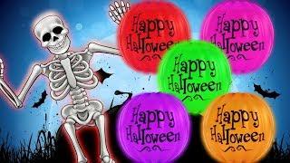 Halloween Pumpkin Rolling Skeleton Learn Colors For Kids Children Baby Songs by HooplaKidz