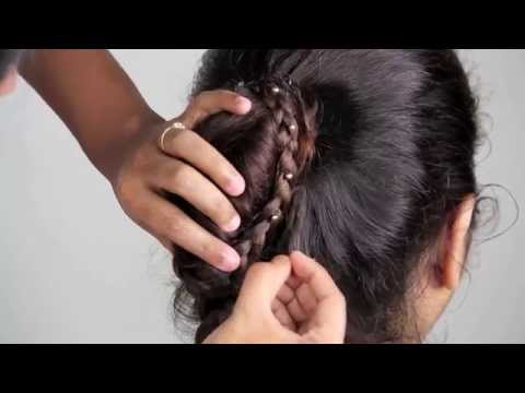 PARTY HAIRSTYLES Updo hairstyle with braid Bridal/Thanksgiving/Christmas/Diwali |makeupinfo|