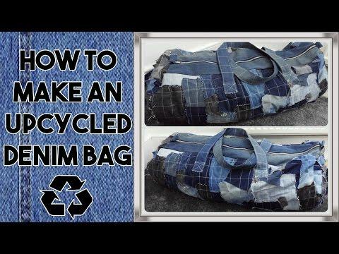 DIY: Upcycled large Denim bag - Recycled Denim - Craftbrulee