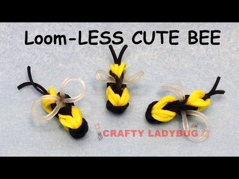 NEW Rainbow Loom-LESS CUTE BEE EASY Charm Tutorials by Crafty Ladybug /How to DIY