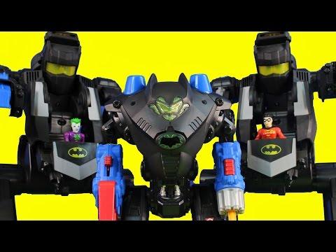Imaginext Batman & Robin Go After The Joker Riddler Bane Replicate Transforming Batbot Robot
