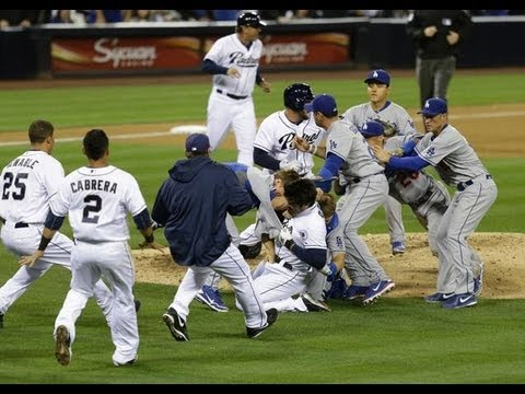 """A massive brawl broke out between the Los Angeles Dodgers and San Diego Padres Thursday night. The Padres' Carlos Quentin was up to bat with Zack Greinke on..."