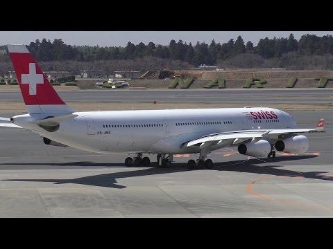 Swiss A340-313 [HB-JMB] Taxi and Takeoff from Tokyo Narita ᴴᴰ
