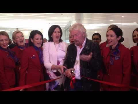 Richard Branson and Annastacia Palaszczuk open Virgin Australia's Brisbane lounge